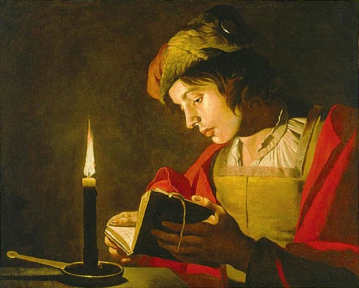 matthias_stom_young_man_reading_by_candlelight